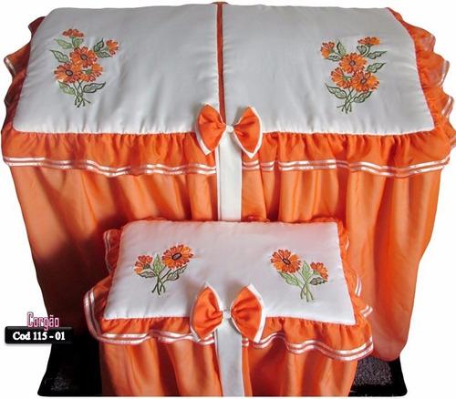 cod 115-01 capa p/orgão cetim perola e voil laranja.(pinhais