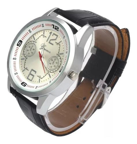 cod 684 - reloj geneva blanco malla negra - joyas margaret