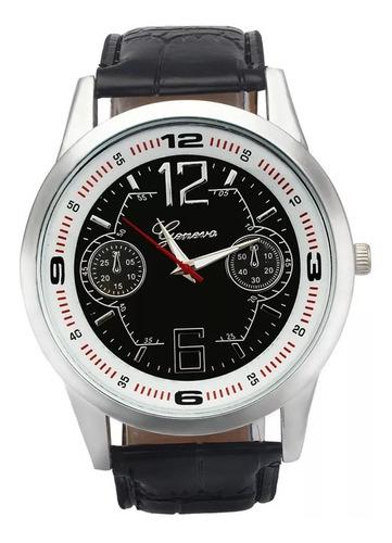 cod 685 - reloj geneva negro malla negra - joyas margaret