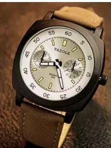 cod 727 - reloj yazole blanco malla cuero- joyas margaret