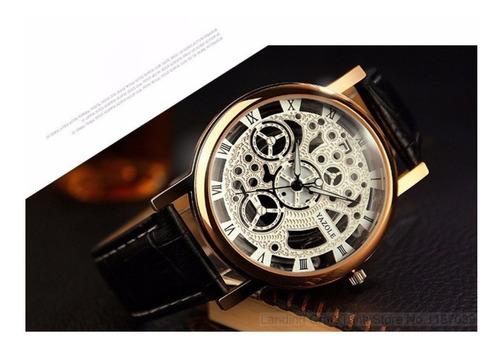 cod 813 987 - reloj yazole esqueleto negro - joyas margaret