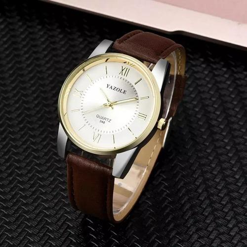 cod 847- reloj yazole blanco malla cuero - joyas margaret