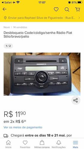 code / senha para rádios fiat stilo, palio, uno etc