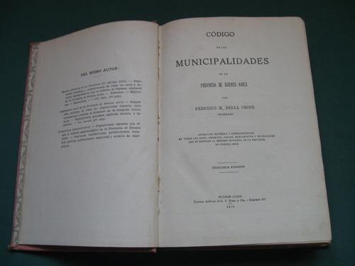 codigo de municipalidades, buenos aires, 1918.