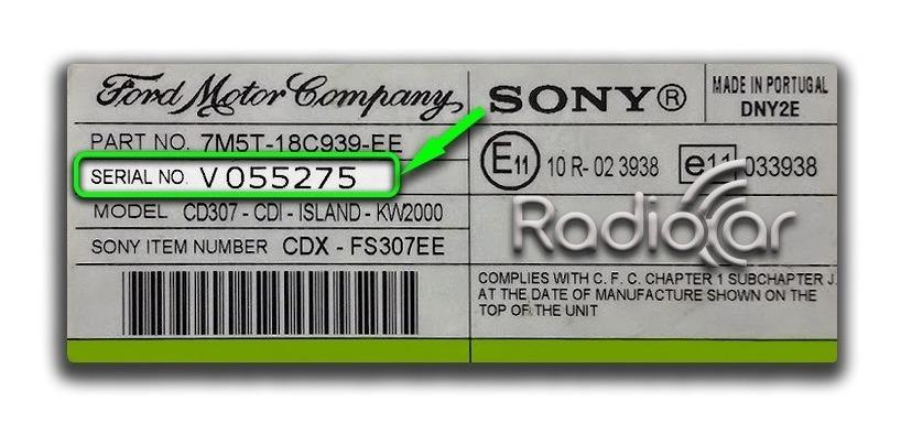 Codigo Enter Keycode Radio Sony Ford Focus Ghia 2009 Vseries