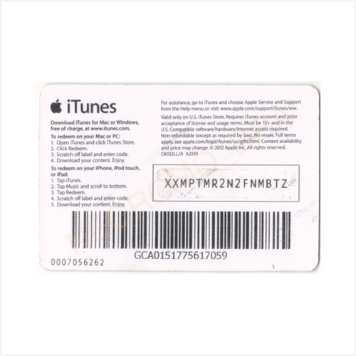 código tarjeta itunes gift card usa u$10 p/ iphone ipad ipod