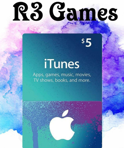 código tarjetas itunes, apps, mac de $5 de apple store usa