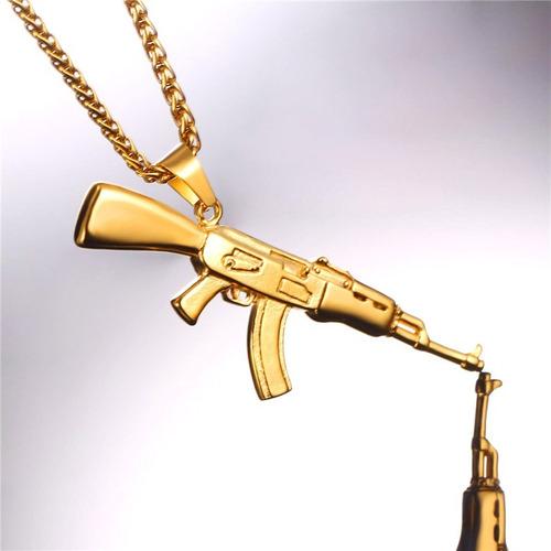 codão colar fuzil ak 47 cor dourado