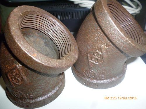 codo de 2x45 grados hierro negro
