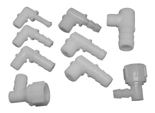 codo plástico con espiga de 1/4 y rosca de 1/4 (10 uni.)