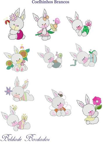 coelhinhos brancos - coleção de matriz de bordado