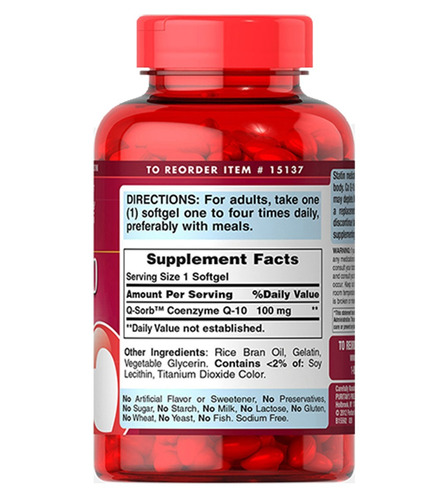 coenzima q10 100 mg 240 softgels  puritans pride