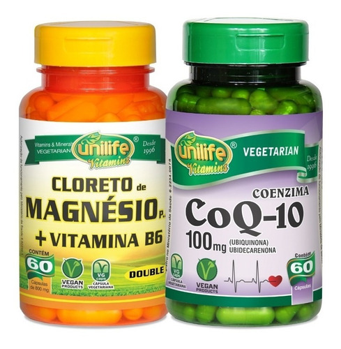 coenzima q10 ubiquinona + cloreto de magnésio p.a c/ b6 2x60