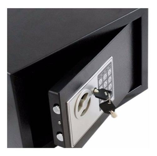 cofre aço fechadura eletrônica 23x17x17cm chave avb e17st