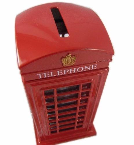 cofre cabine telefone londres metal retro/vintage
