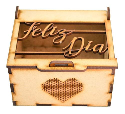 cofre caja mdf  con corte láser de 9x8x5 cm