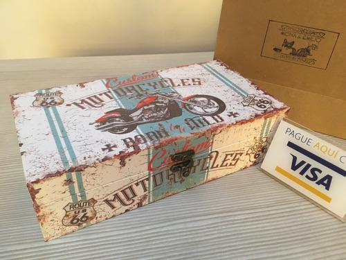 cofre de madera motocicletas retro ruta 66 regalo hombre