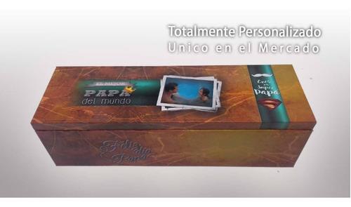 cofre de madera personalizado dia del padre + fernet branca