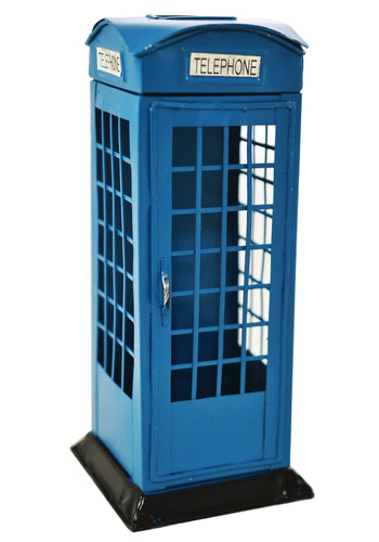 cofre de moedas em metal miniatura cabine telefonica