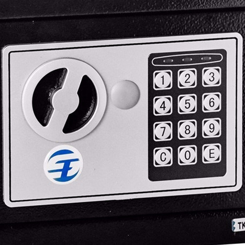 cofre fechadura eletrônica aço 23x17x17cm chave avb e17st