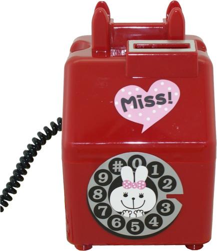 cofre formato de telefone cfrd vermelho com coelhinho branco