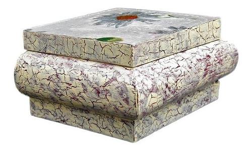 cofre pequeño de madera craquelado aplicación de servilleta