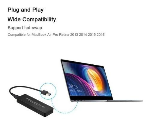 cofre usb 3.0 para ssd pcie de macbook air/pro 2013 al 2017