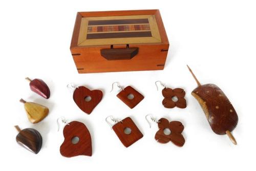 cofre zarcillos moñera frutas de madera imantadas artesanía