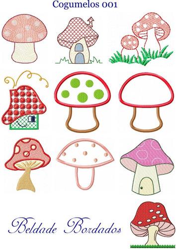 cogumelos 001 - coleção de matriz de bordado