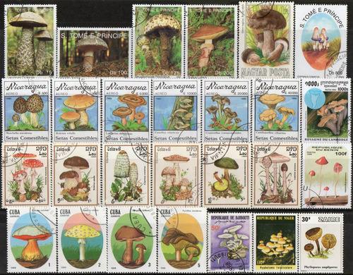 cogumelos - lote 27 selos diversos