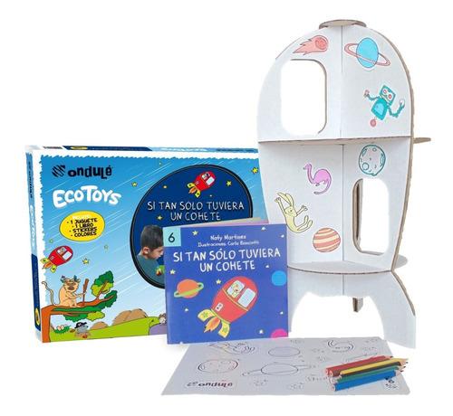 cohete para pintar + stickers + libro si tuviera un cohete