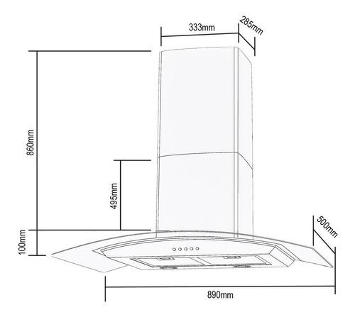 coifa vidro digital parede 90cm 220v - cadence inox preto