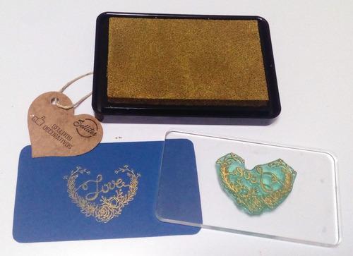 cojín con tinta oro metal para sellos scrapbook