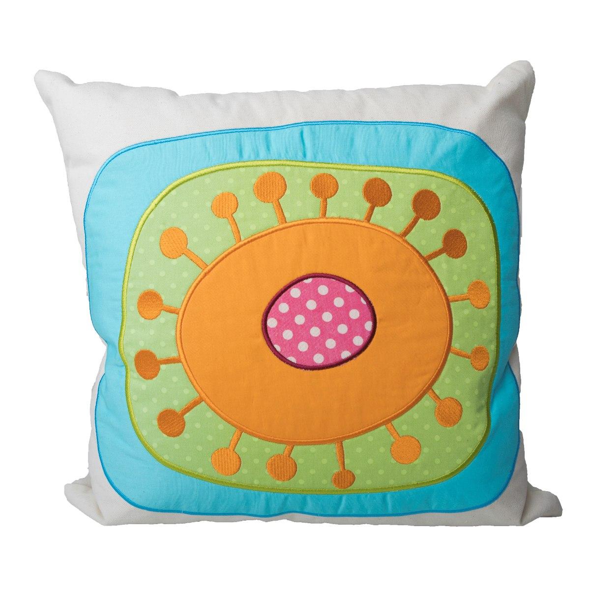 Cojin Decorativo Bordado Decoracion Verde Naranja 40 X 40  # Beestudio Muebles