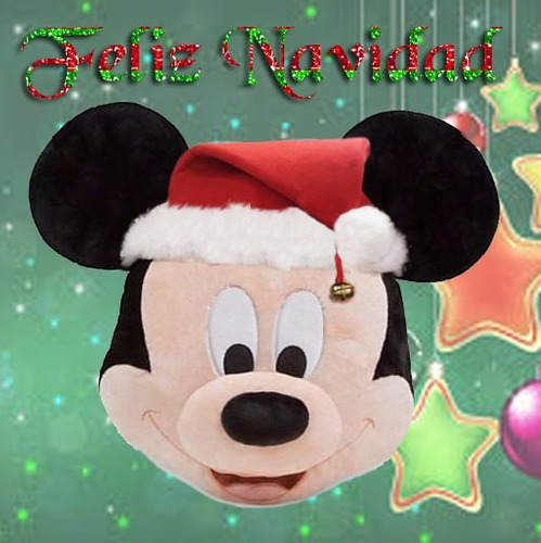 cojin mickey  mouse y minnie mouse navideños