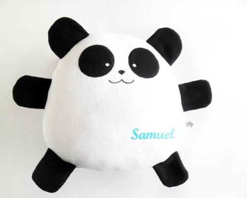cojín oso panda niño nombre personalizado cumpleaños bebé