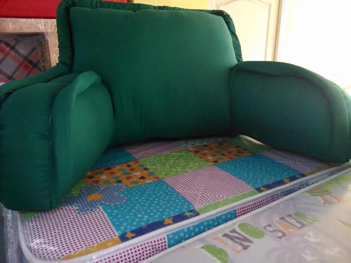 cojin para cama respaldo brazos verde nuevos las