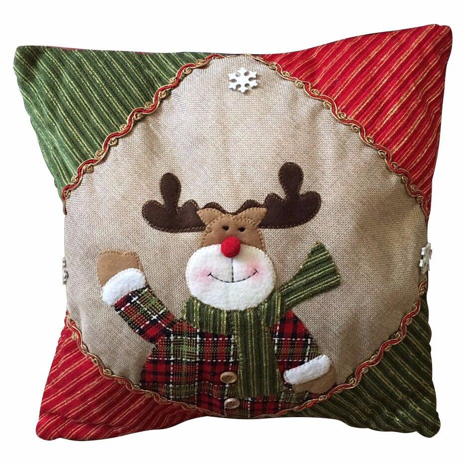 Cojines De Patchwork De Navidad.Cojines De Navidad Cojin Figura Pascuero Reno Y Nieve 4 X
