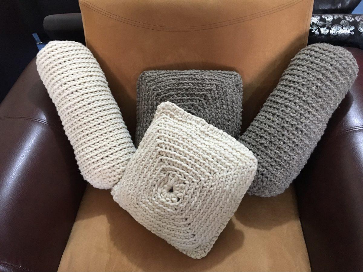 Cojines decorativos tejidos a crochet lana 100 en mercado libre - Cojines de lana ...