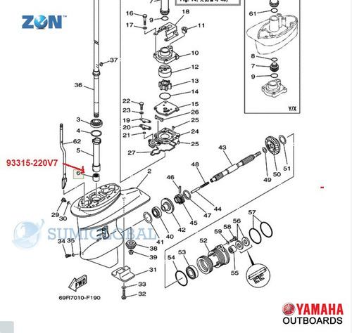 cojinete de aguja eje largo fuera de borda yamaha 25/30 hp
