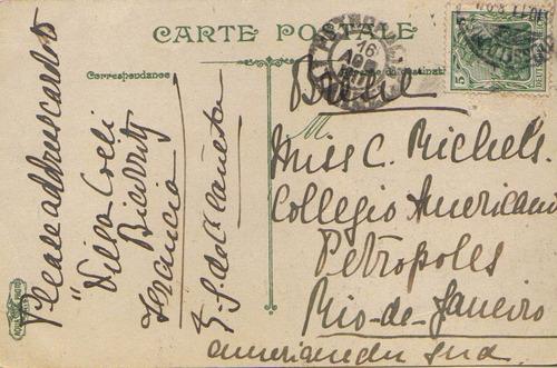 col 01963 alemanha cartão postal de paris p/petrópolis rj