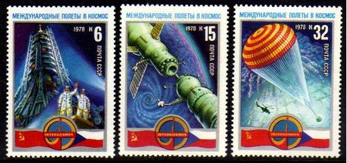 col 04935 russia 4463/65 coperação espacial tchecoslovaq nnn