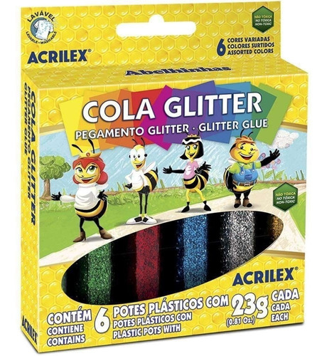 cola colorida com glitter 6 cores