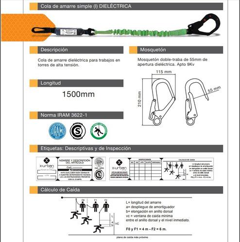 cola de amarre dielectrica x-urban amortiguador gan. 55mm