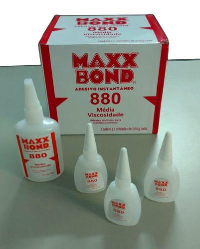cola instantânea max bond 100g couro,madeira etc kit 02 und.