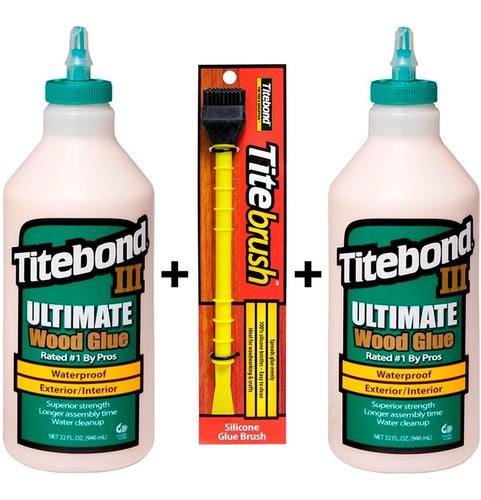 cola p/ madeira titebond 3 ultimate c/2un 946ml + pincel