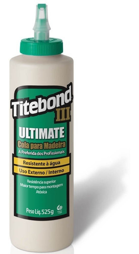 cola p/ madeira ultimate 2pçs 525g 6004528 titebond + pincel