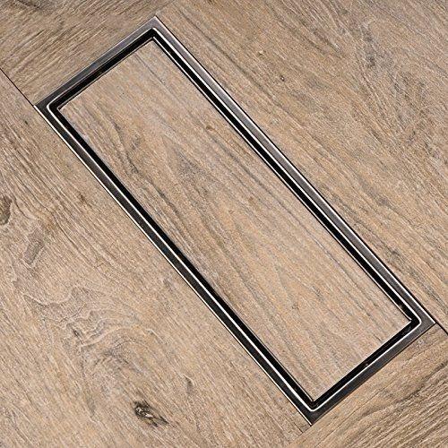 coladera lineal de lujo 30 cm doble vista acero inoxidable