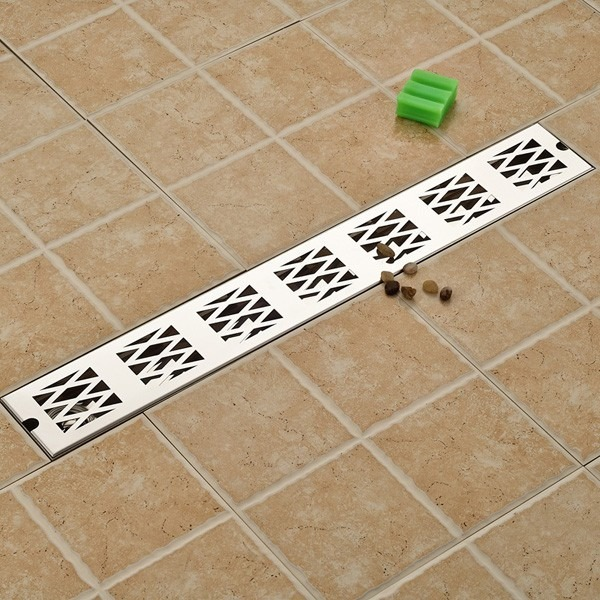 Coladera moderna lineal de reja 70 cm laton ba o regadera for Como poner llaves de regadera