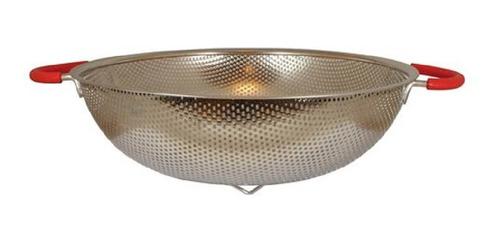 colador de acero con manijas con silicona roja 28 cm
